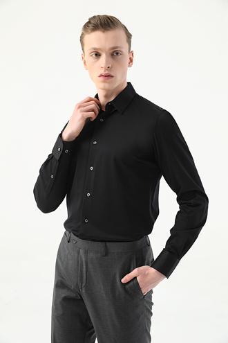 Damat Slim Fit Siyah Armürlü Örme Gömlek - 8682364845958 | Damat Tween