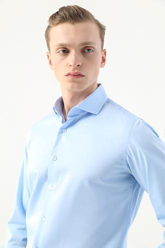 Damat Slim Fit Mavi Düz Nano Care Gömlek - 8682364583027 | Damat Tween