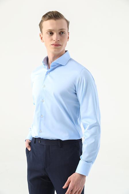 Damat Slim Fit Mavi Düz Nano Care Gömlek - 8682364508822 | Damat Tween
