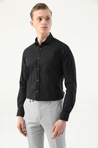 Tween Super Slim Fit Siyah Düz Gömlek - 8682364628902 | Damat Tween