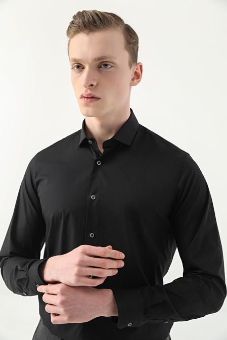 Tween Slim Fit Siyah Düz Nano Care Gömlek - 8682364510870   Damat Tween