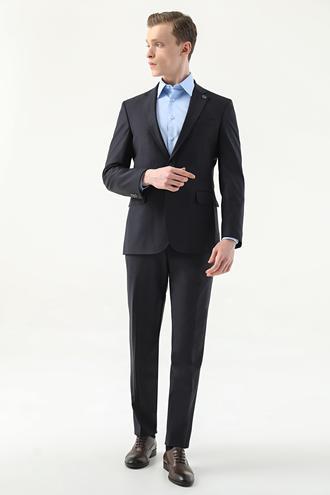 Damat Slim Fit Lacivert Düz Superfine Wool Takım Elbise - 8682364554898 | Damat Tween