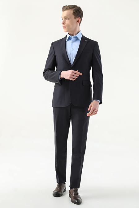 Damat Slim Fit Lacivert Düz Superfine Wool Takım Elbise - 8682364554898   Damat Tween