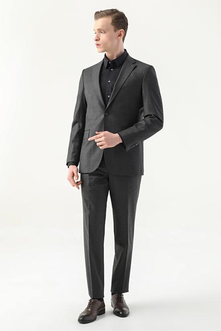 Damat Slim Fit Antrasit Düz Superfine Wool Takım Elbise - 8682364555062 | Damat Tween