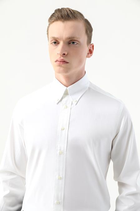 Damat Comfort Beyaz Düz Nano Care Gömlek - 8682364509386   Damat Tween
