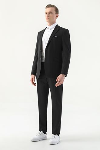 Tween Slim Fit Siyah Düz Takım Elbise - 8682364628513 | Damat Tween