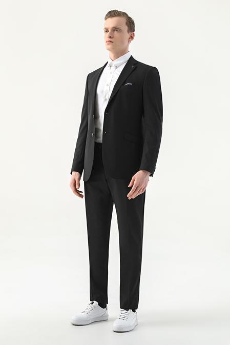 Tween Slim Fit Siyah Düz Takım Elbise - 8682364628513   Damat Tween