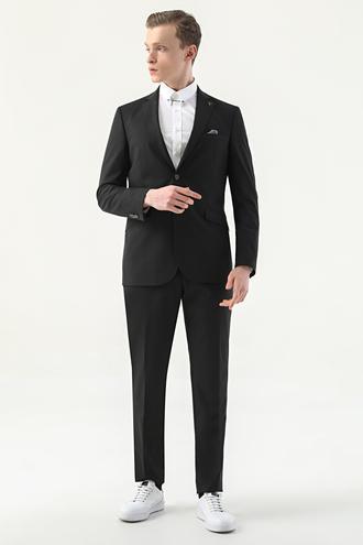 Tween Slim Fit Siyah Düz Takım Elbise - 8682364511419 | Damat Tween