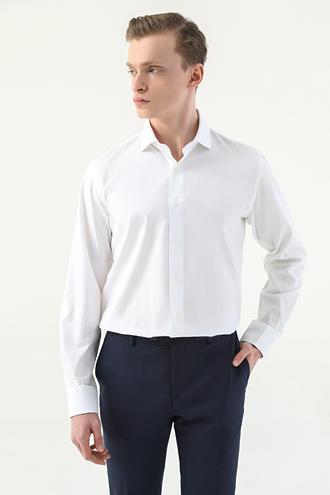 Damat Slim Fit Beyaz Desenli Gömlek - 8682364509270 | Damat Tween