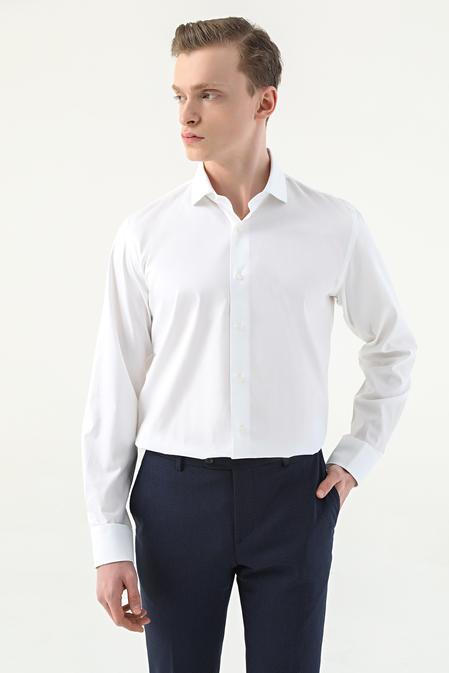Damat Slim Fit Beyaz Desenli Nano Care Gömlek - 8682364509270 | Damat Tween