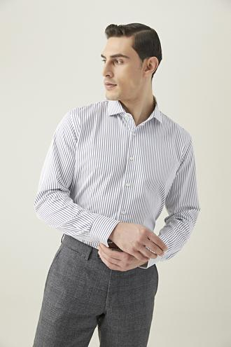 Damat Slim Fit Beyaz Çizgili Gömlek - 8682364649754 | Damat Tween