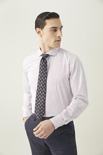 Damat Slim Fit Beyaz Çizgili Gömlek - 8682364649808 | Damat Tween