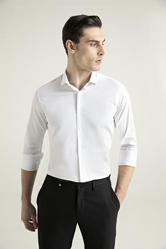 Tween Slim Fit Beyaz Düz Gömlek - 8682364568925 | Damat Tween