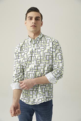 Tween Slim Fit Yeşil Baskılı Loafer Gömlek - 8682364493258 | Damat Tween