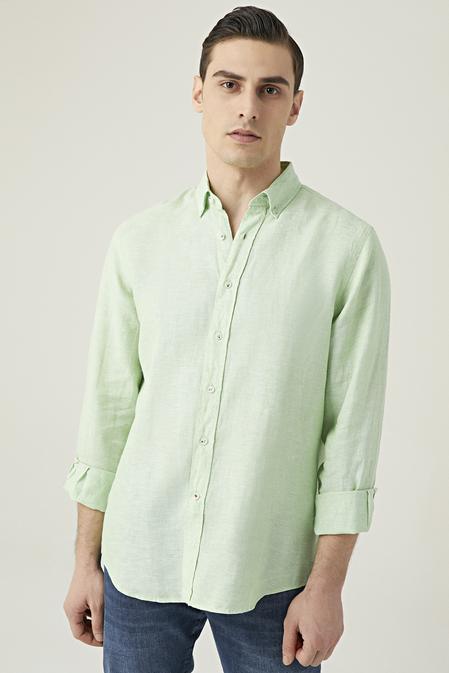 Damat Comfort Yeşil Düz Gömlek - 8682364483075 | Damat Tween