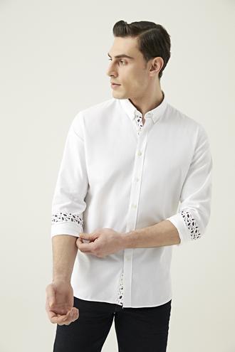 Tween Slim Fit Beyaz Desenli Gömlek - 8682364494521 | Damat Tween