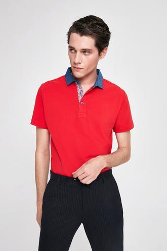 Twn Slim Fit Kırmızı Pike Dokulu T-shirt - 8682060914668 | D'S Damat