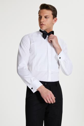 Damat Slim Fit Beyaz Düz Nano Care Smokin Gömlek - 8682364567829 | Damat Tween