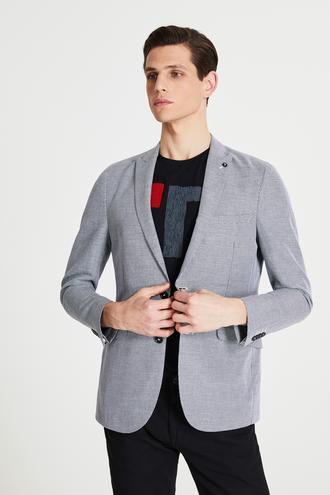 Tween Slim Fit Siyah Desenli Kumaş Ceket - 8681649989172   Damat Tween