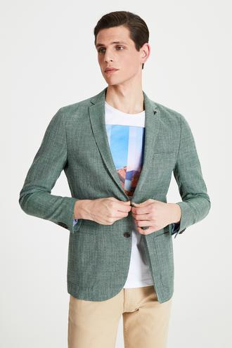Tween Slim Fit Yeşil Kumaş Ceket - 8682364500925 | Damat Tween