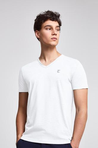 Twn Slim Fit Beyaz Düz T-shirt - 8682445308884 | D'S Damat