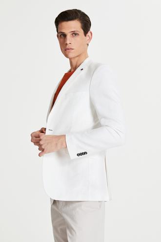Tween Slim Fit Beyaz Kumaş Ceket - 8682364500673 | Damat Tween
