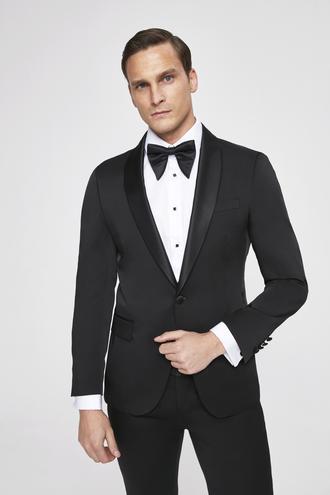 Ds Damat Slim Fit Siyah Düz Smokin Takım Elbise - 8682445240788 | D'S Damat