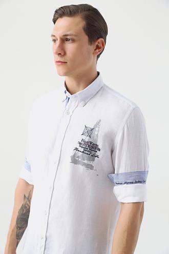 Ds Damat Slim Fit Beyaz Düz Keten Gömlek - 8682445340891 | D'S Damat