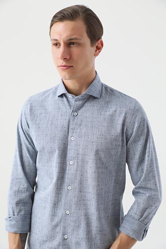 Ds Damat Slim Fit Lacivert Baskılı Gömlek - 8682445198409 | D'S Damat
