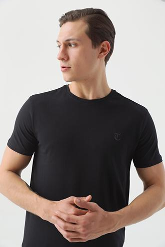 Twn Slim Fit Siyah Düz T-shirt - 8682445164749 | D'S Damat