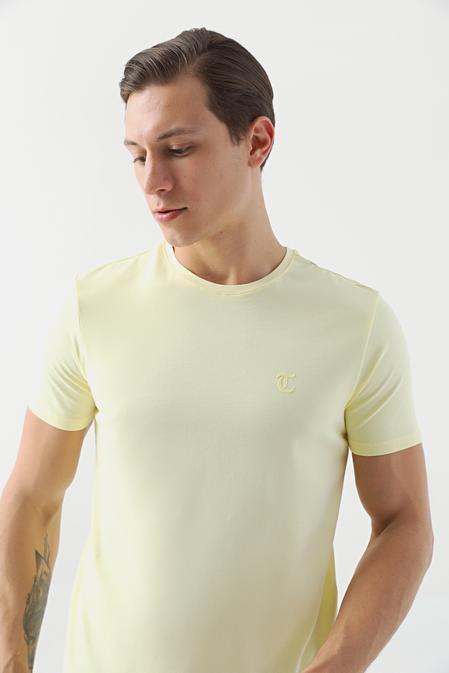 Twn Slim Fit Sarı Düz T-shirt - 8682445164954 | D'S Damat
