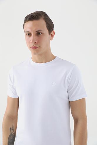 Twn Slim Fit Beyaz Düz T-shirt - 8682445165043 | D'S Damat