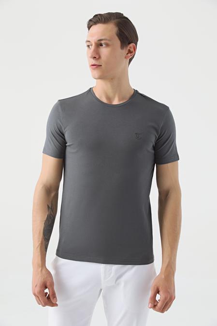 Twn Slim Fit Antrasit Düz T-shirt - 8682445001266   D'S Damat