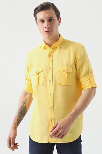 Ds Damat Regular Fit Sarı Düz Keten Gömlek - 8682445290356 | D'S Damat