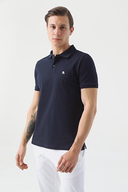 Ds Damat Regular Fit Lacivert Pike Dokulu T-shirt - 8682060906182 | D'S Damat