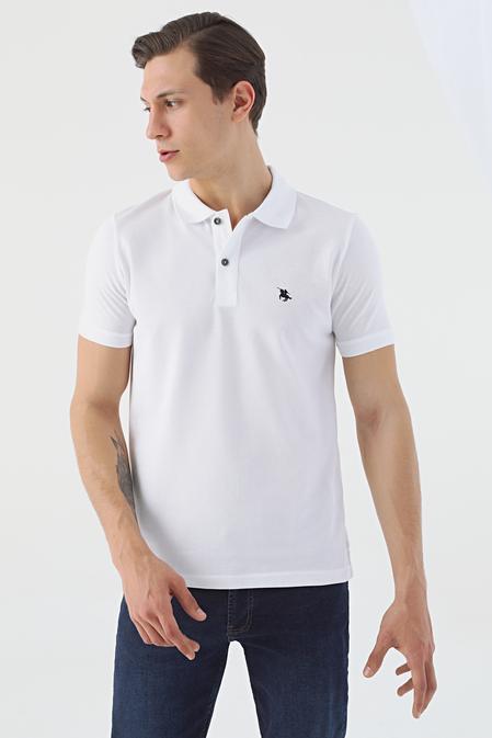 Ds Damat Regular Fit Beyaz Pike Dokulu T-shirt - 8682060906601 | D'S Damat