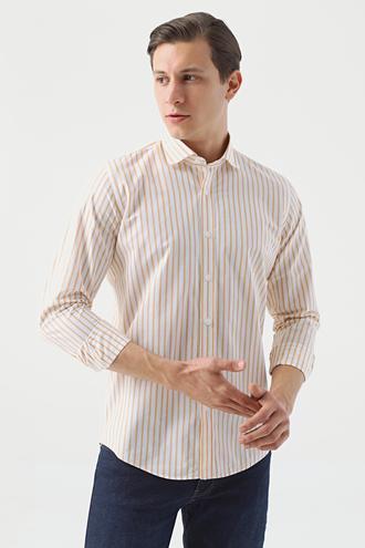 Ds Damat Slim Fit Sarı Çizgili Gömlek - 8682445341195 | D'S Damat