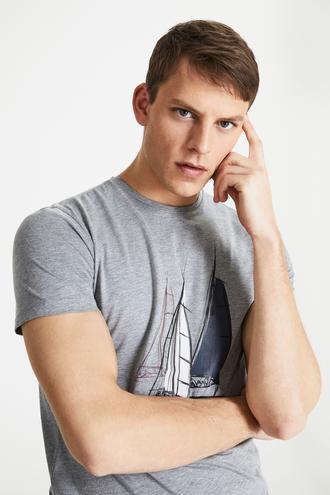 Damat Gri Çizgili Baskılı T-shirt - 8682364487127 | Damat Tween