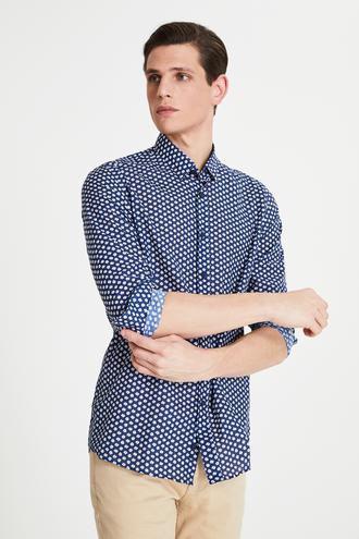 Tween Slim Fit Lacivert Baskılı Vual Gömlek - 8682364494897 | Damat Tween