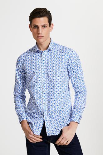 Tween Slim Fit Beyaz Desenli Gömlek - 8682364500093 | Damat Tween