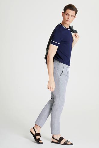 Tween Slim Fit Siyah Desenli Kumaş Pantolon - 8682364500376   Damat Tween