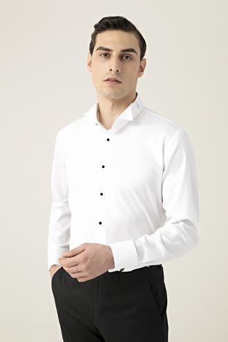 Damat Slim Fit Beyaz Düz Smokin Gömlek - 8682364567744 | Damat Tween
