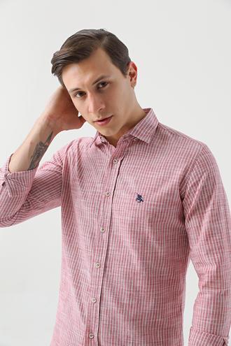 Ds Damat Slim Fit Kırmızı Çizgili Gömlek - 8682445196801 | D'S Damat