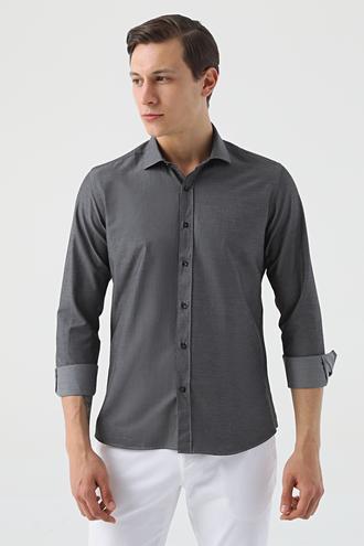 Twn Slim Fit Siyah Armürlü Gömlek - 8682445082753   D'S Damat