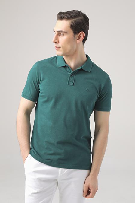 Ds Damat Regular Fit Yeşil Pike Dokulu T-shirt - 8682445033021   D'S Damat