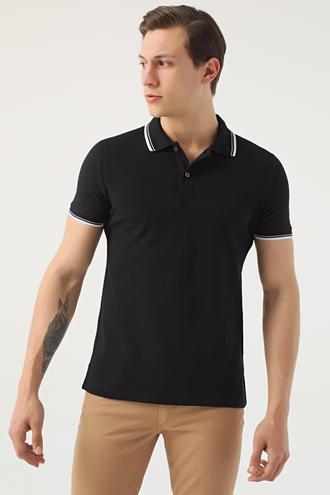 Ds Damat Slim Fit Siyah Pike Dokulu T-shirt - 8682060908452 | D'S Damat