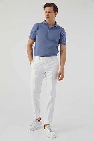 Ds Damat Beyaz Armürlü Keten Kumaş Pantolon - 8681779342779 | D'S Damat