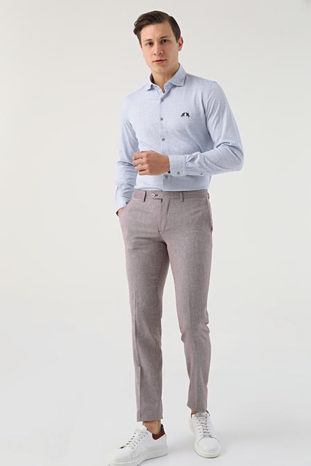 Ds Damat Bordo Desenli Keten Kumaş Pantolon - 8681779318392   D'S Damat
