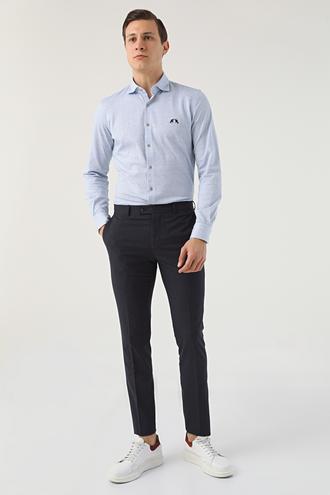 Twn Slim Fit Lacivert Kareli Kumaş Pantolon - 8682445486209   D'S Damat