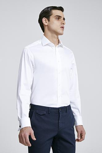 Ds Damat Regular Fit Beyaz Düz Gömlek - 8682445045130 | D'S Damat